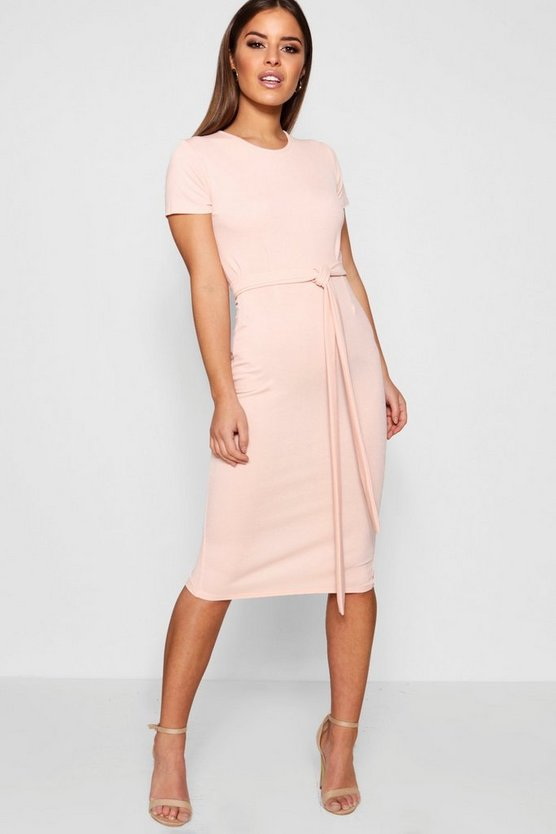 Petite Pleat Front Belted Tailored Midi Dress