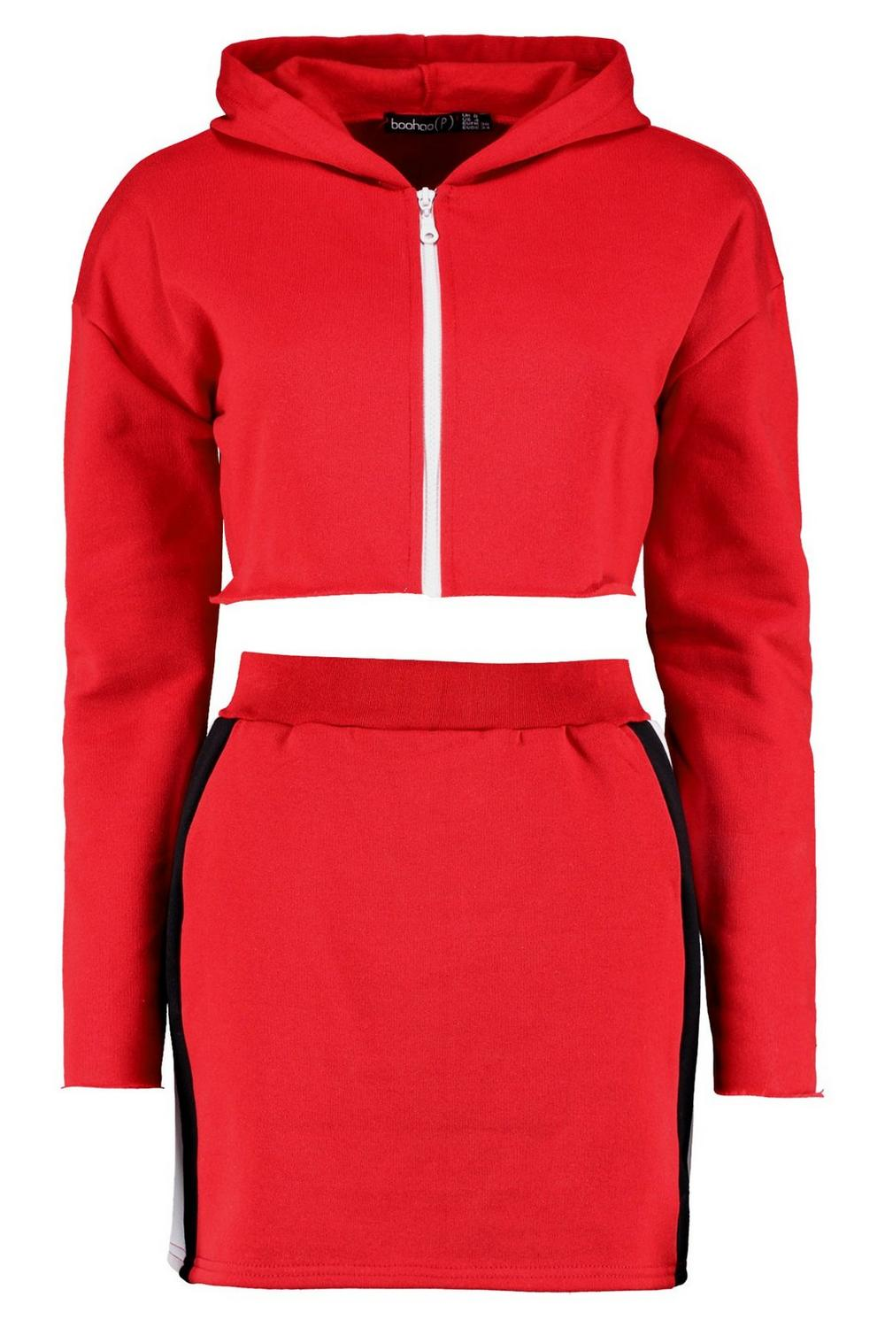 Ord Crop amp; Skirt Petite red Co Sweat FwqfUf
