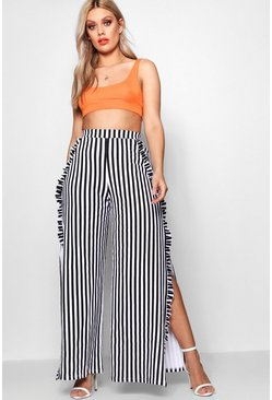 Womens White Plus Stripe Ruffle Pant With Side Split