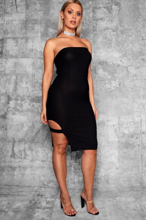 Womens Black Plus Strap Detail Bodycon Dress