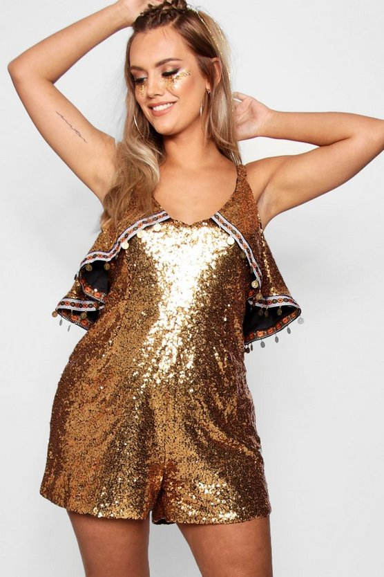 Plus Ruffle Sequin Playsuit