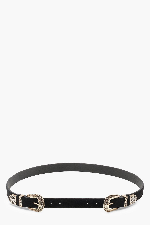 0de7c95939 Plus Engraved Double Buckle Belt   Boohoo