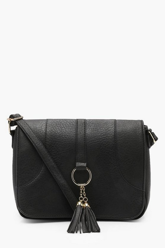 Womens Black Plus Loop + Tassel Saddle Cross Body Bag
