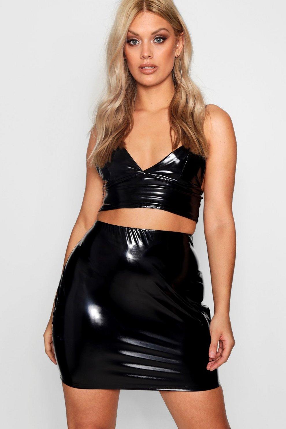 2af0013944e Womens Black Plus Vinyl Mini Skirt