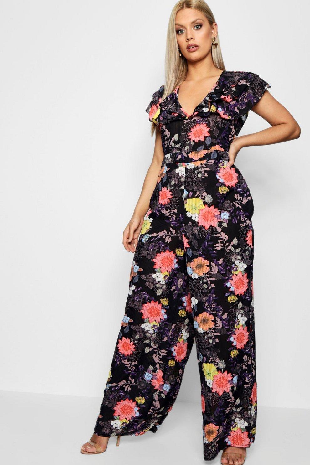 502280a4983c Plus Floral Print Jumpsuit