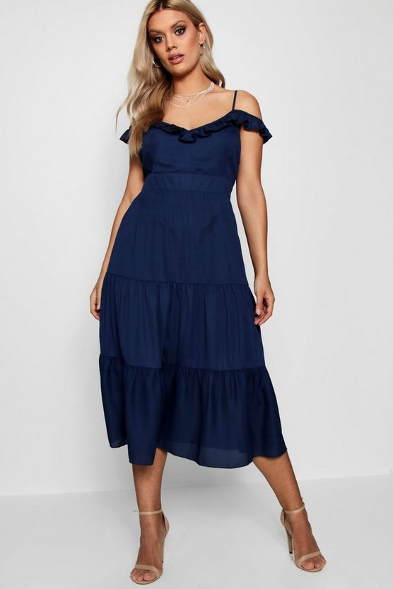 Plus Frill Detail Cold Shoulder Dress
