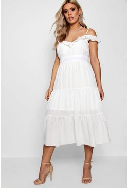 Womens White Plus Frill Detail Cold Shoulder Dress