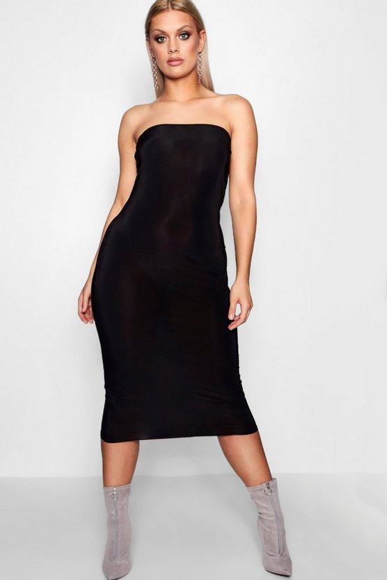 Plus Slinky Bandeau Midi Dress