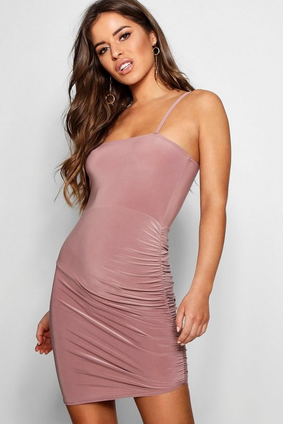 Petite Square Neck Ruched Bodycon Dress
