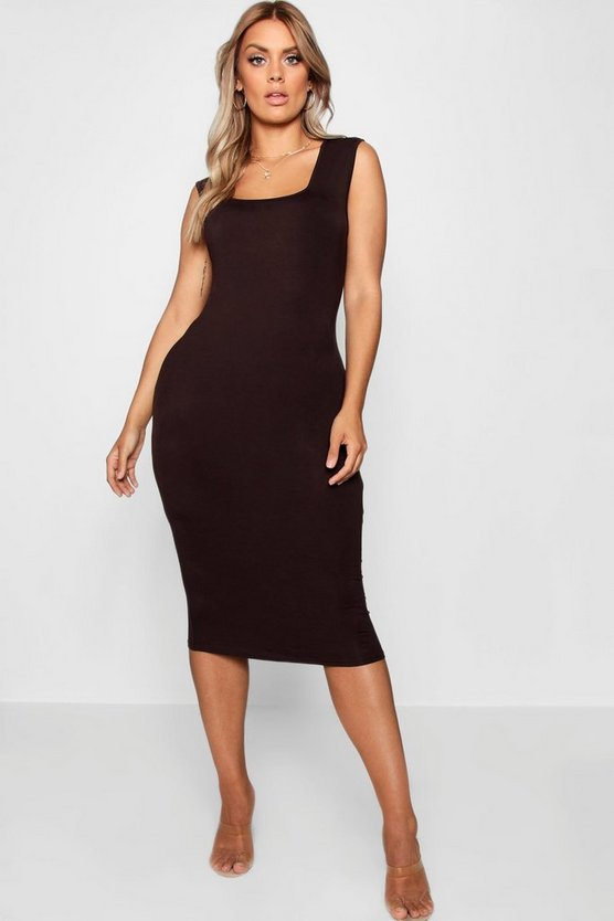 Plus Jersey Square Neck Midi Dress
