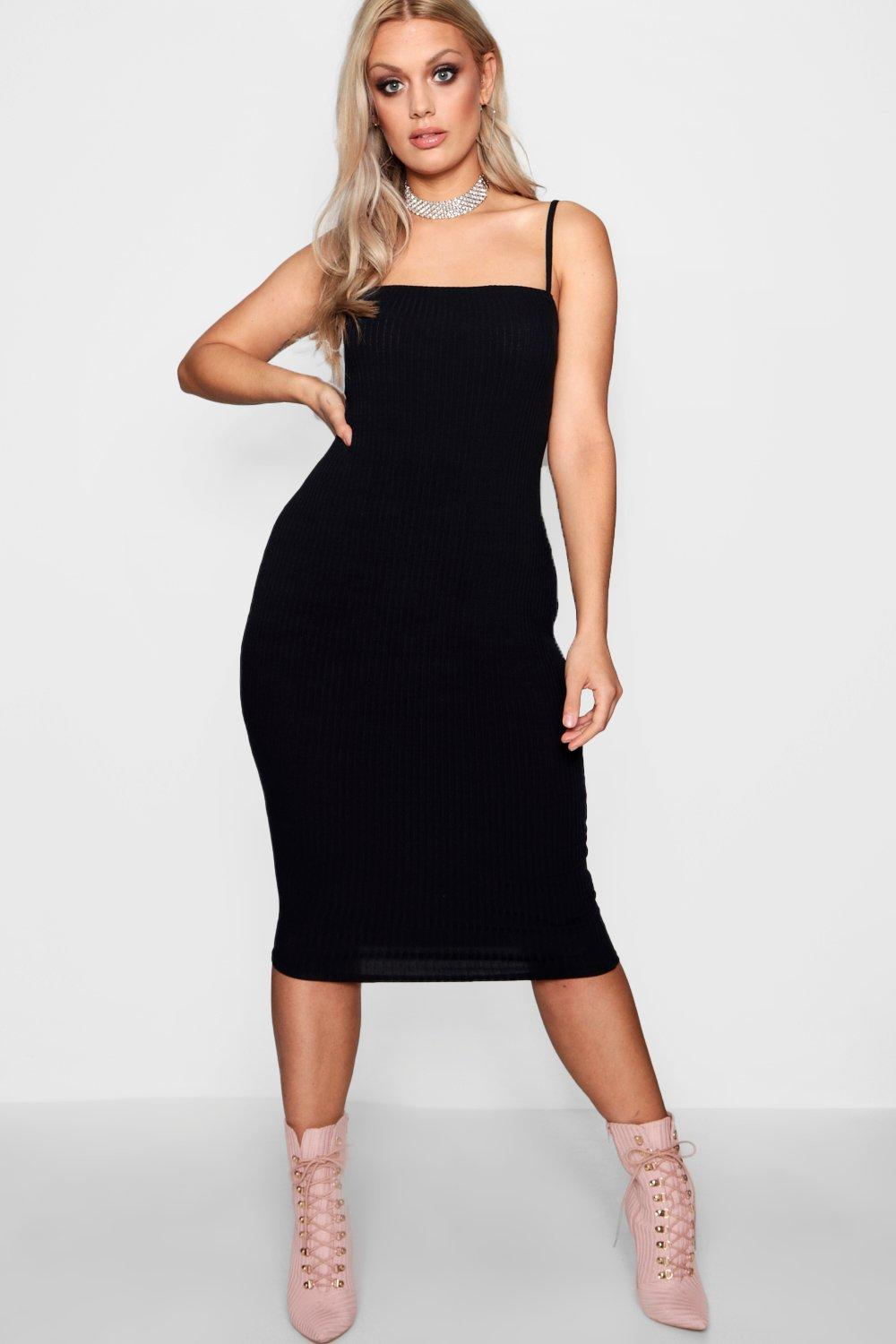 4d8dee671f0 Plus Square Neck Ribbed Midi Dress. Hover to zoom