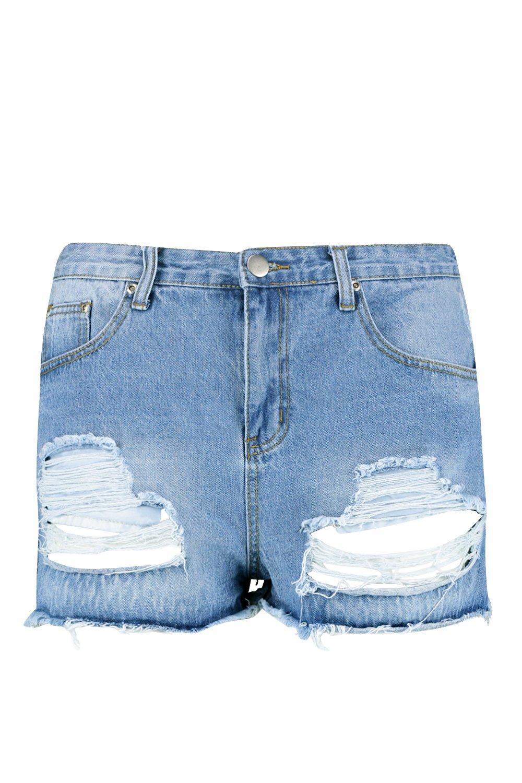 Pantalones azul en claro Plus rasgados denim cortos 0w0q4fH