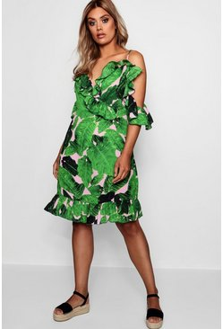 Womens Multi Plus Palm Print Cold Shoulder Beach Dress