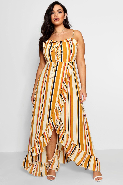 70s Dresses – Disco Dress, Hippie Dress, Wrap Dress Plus Boho Stripe Ruffle Maxi Dress $56.00 AT vintagedancer.com
