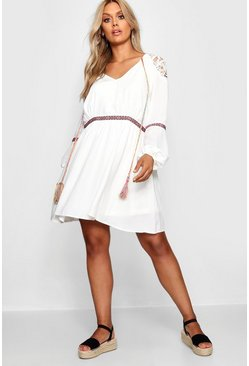 Womens Ivory Plus Aztec Ribbon Trim Smock Dress