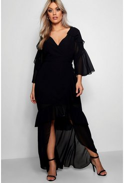 Black Plus  Chiffon Ruffle Maxi Dress