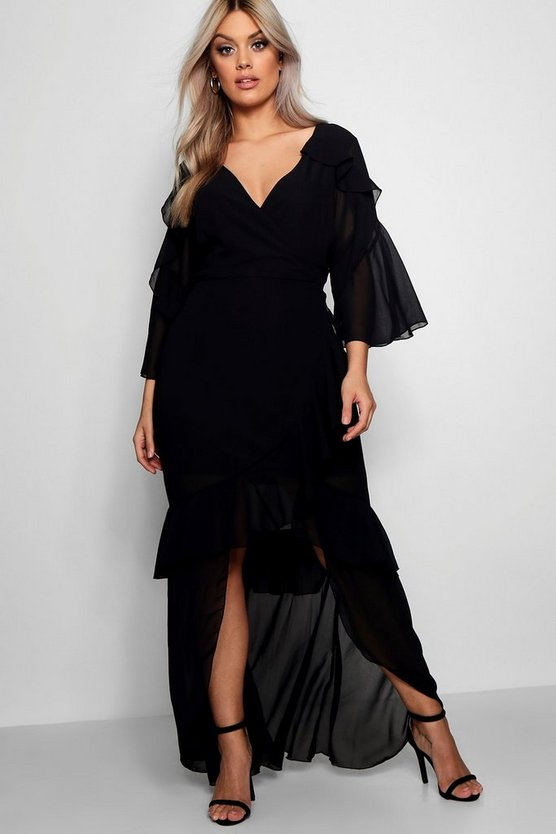 Womens Black Plus Chiffon Ruffle Maxi Dress