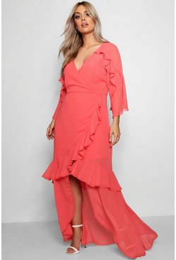 Maxi abito in chiffon plus, Corallo, Femmina