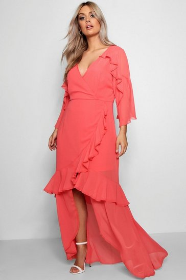 Womens Coral Plus Chiffon Ruffle Maxi Dress