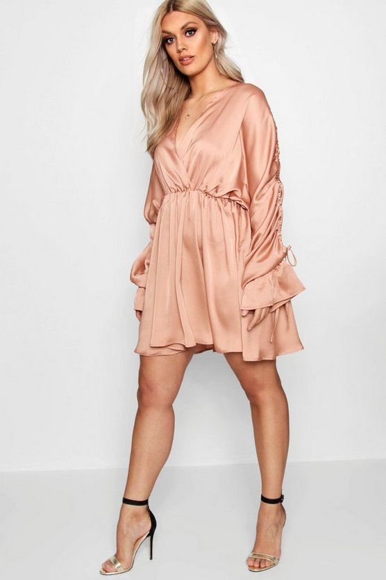 Plus Satin Ruched Plunge Neck Skater Dress