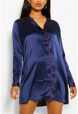 Womens Navy Maternity Satin Button Through Night Shirt