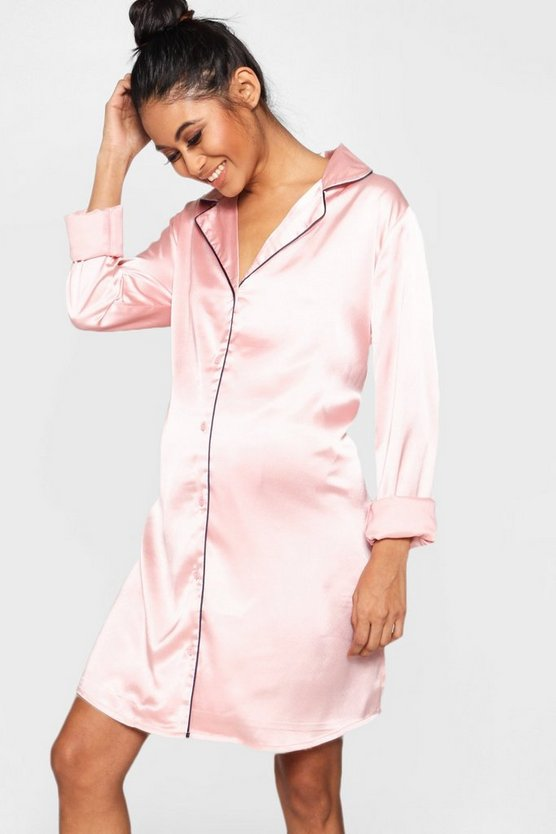Maternity Satin Button Through Night Shirt