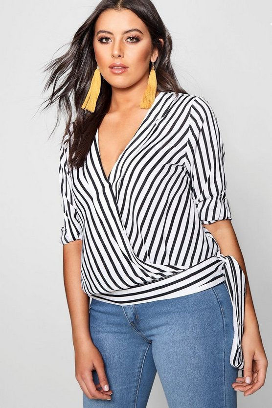 Plus Stripe Wrap Top, Black, DAMEN