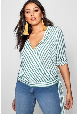 Plus Stripe Wrap Top, Green, DAMEN