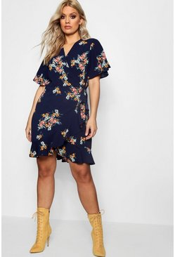 Womens Navy Plus Floral Wrap Tea Dress