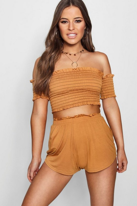 Petite Shirred Bardot Beach Co-Ord