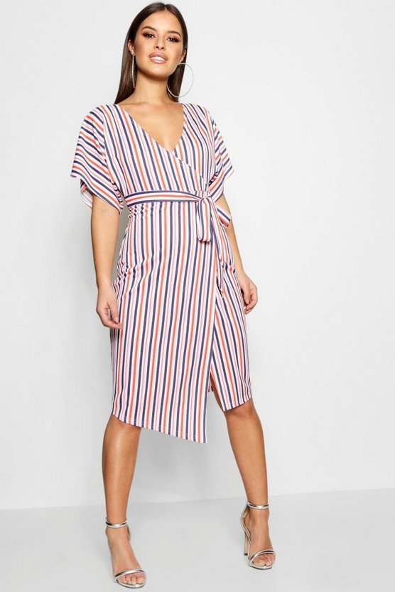 Petite  Crepe Stripe Wrap Midi Dress