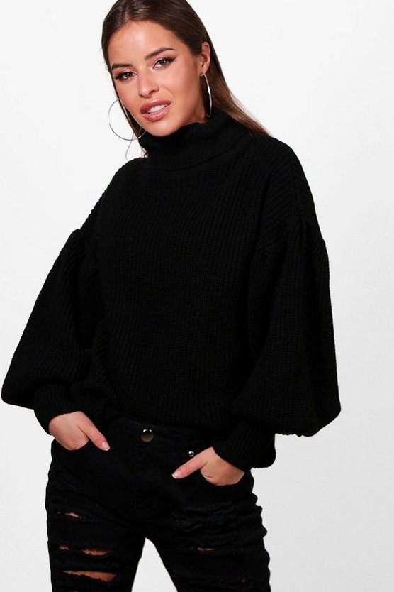 Petite Oversized Sleeve Turtle Neck Jumper