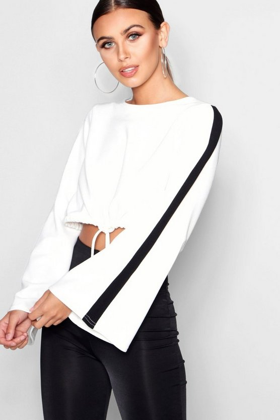 Petite Sports Trim Tie Waist Crop Top