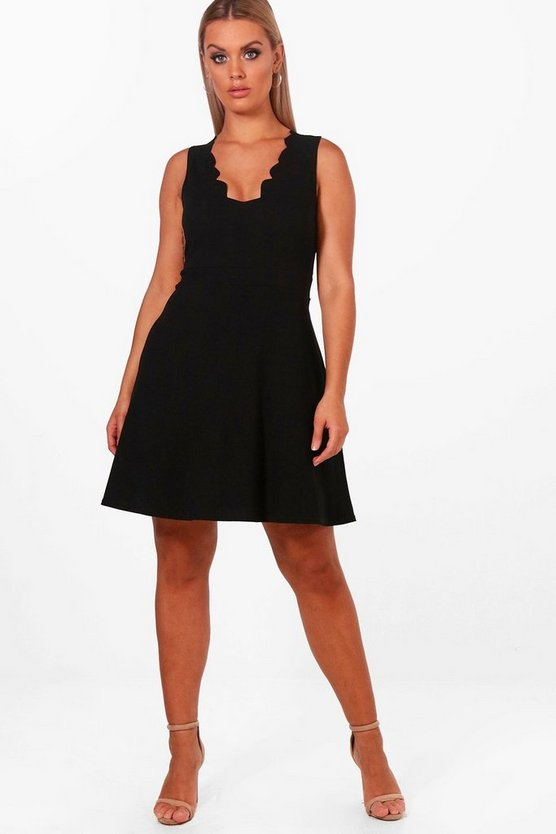 Plus Scallop Edge Skater Dress