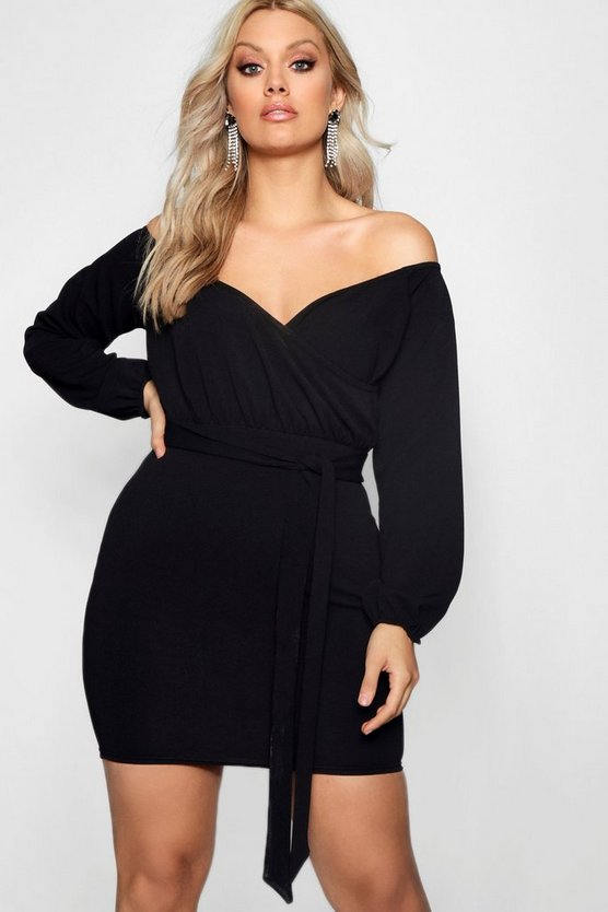 Plus Off The Shoulder Wrap Mini Dress