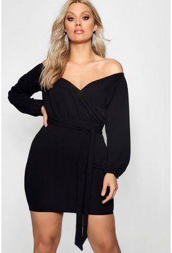 Womens Plus Off The Shoulder Wrap Mini Dress