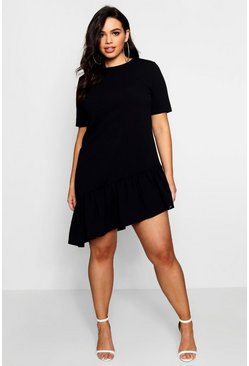 Womens Black Plus  Asymmetric Hem Shift Dress