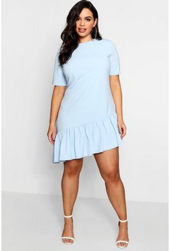 Powder blue Plus  Asymmetric Hem Shift Dress