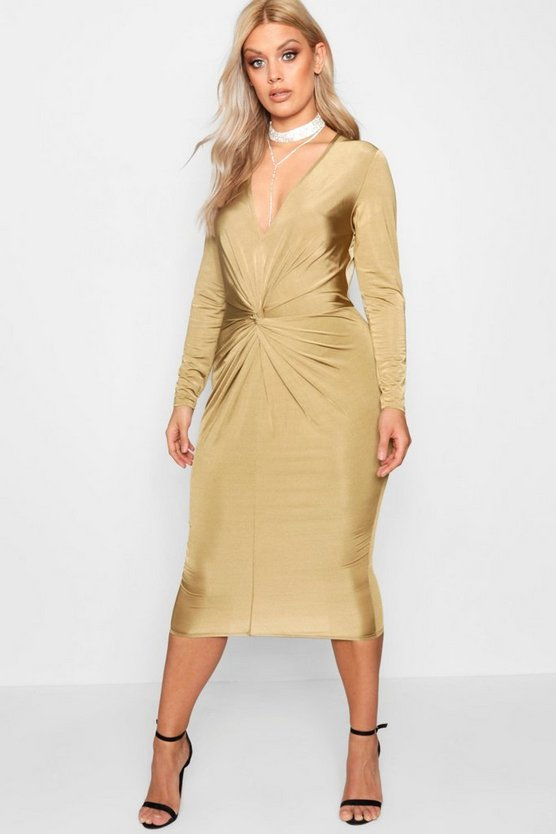 Plus Slinky Knot Front Midi Dress