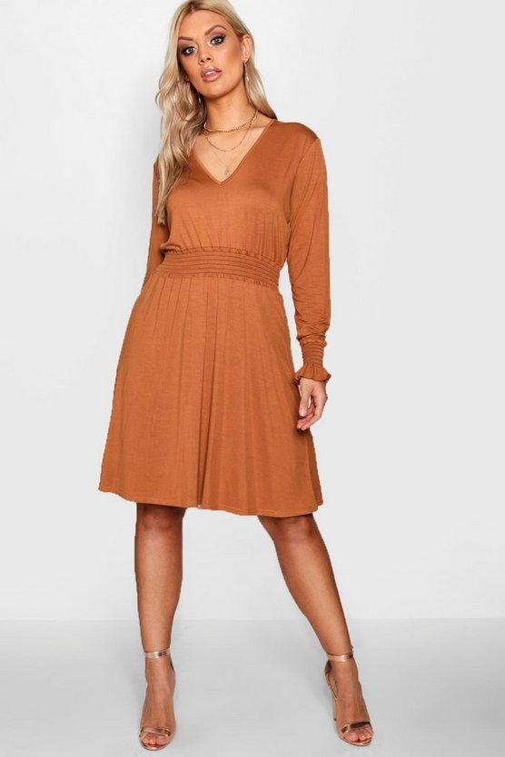 Plus Shirred Detail Smock Dress