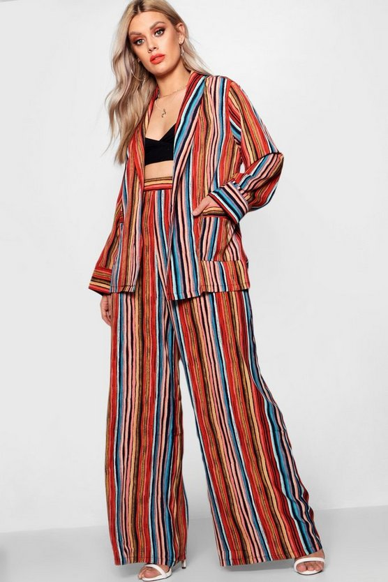 Plus Wide Leg Stripe Trousers