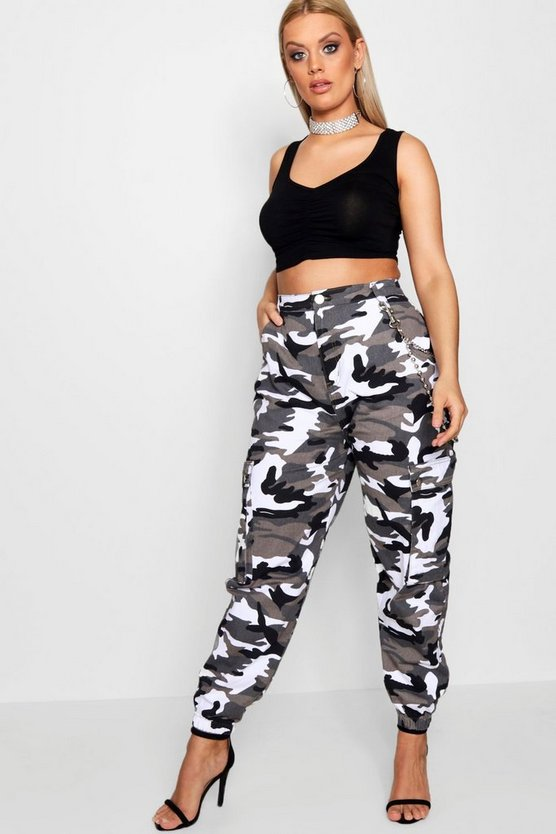Womens Grey Plus  Camo Cargo Jean