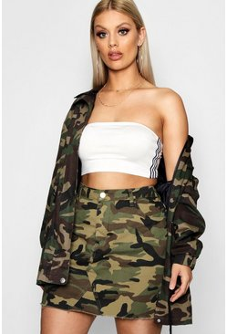 Plus  Camo Denim Skirt, Khaki, Femme