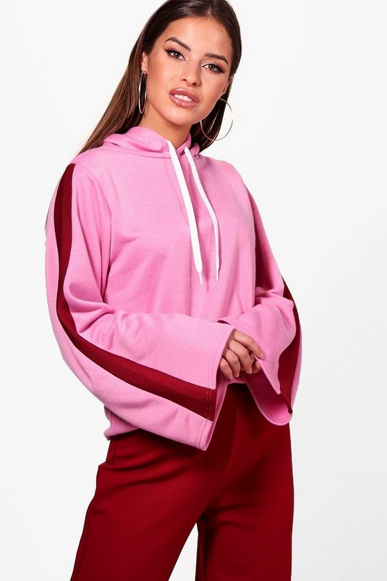 Petite Sports Trim Kimono Sleeve Sweat Top