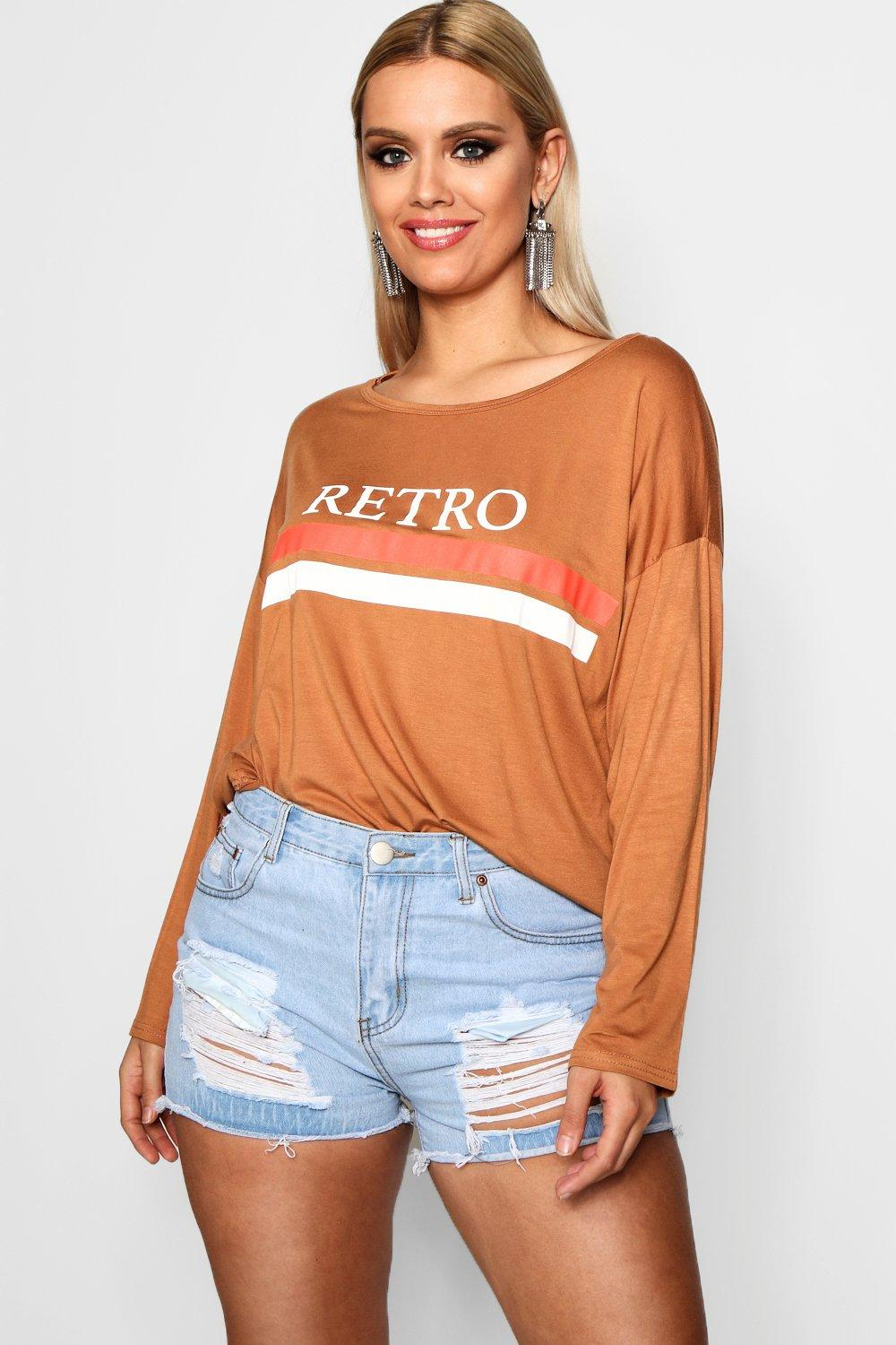 Shirt Stripe T toffee Print Plus 'Retro' ZYq0wPYCv