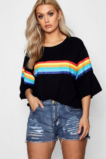 Womens Black Plus Rainbow Print T-Shirt