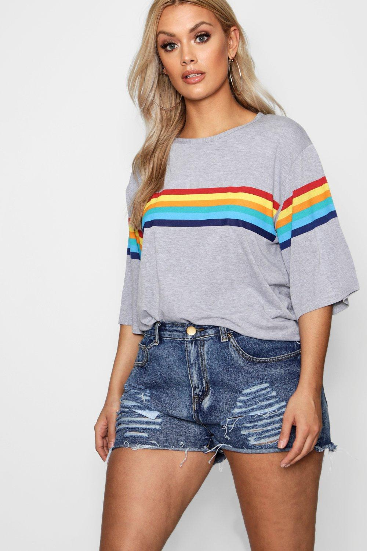 Boohoo Único Plus Rainbow Print T-Shirt Boohoo - Mujer Ropa Descuento YTGJJYC
