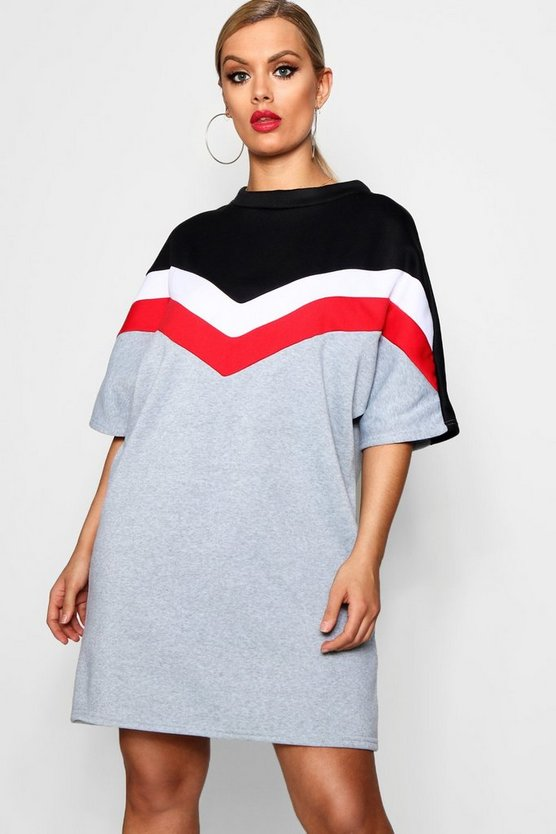 Plus  Chevron Cap Sleeve Sweat Dress