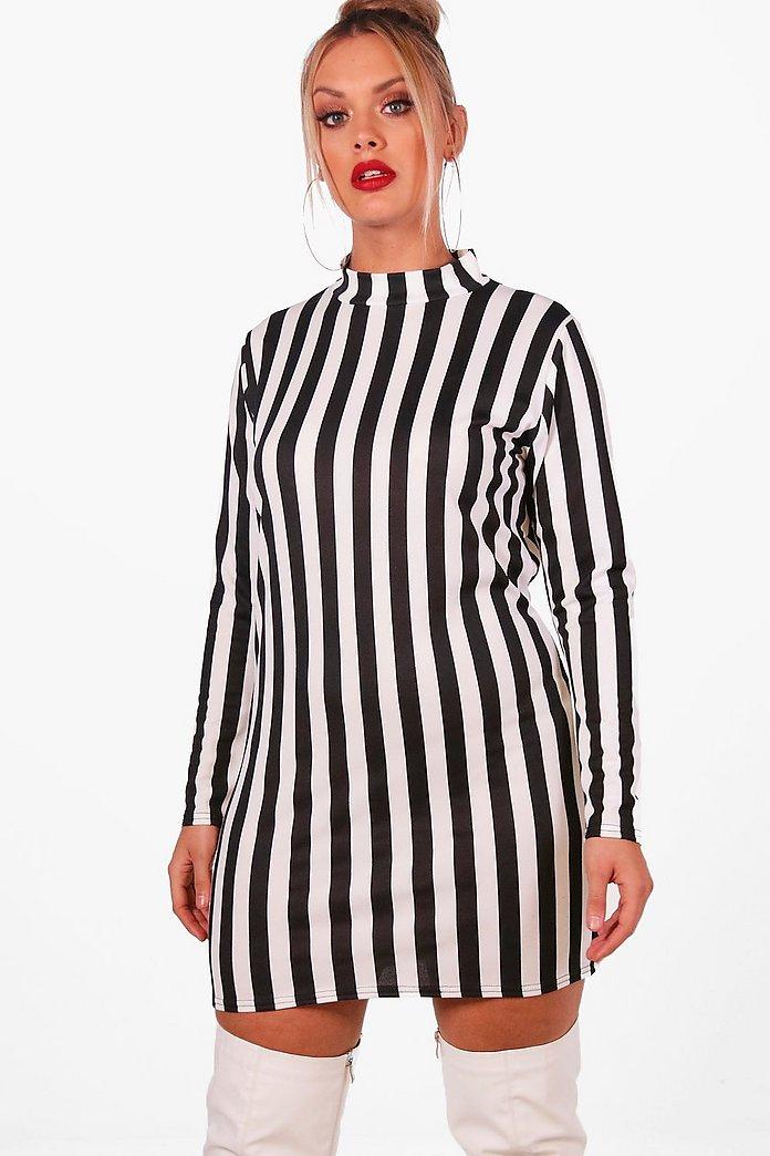 Plus Black Sequin Stripe Bodycon Dress