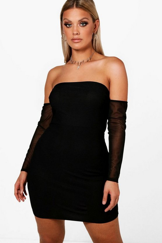 Plus Off Shoulder Mesh Bodycon Dress